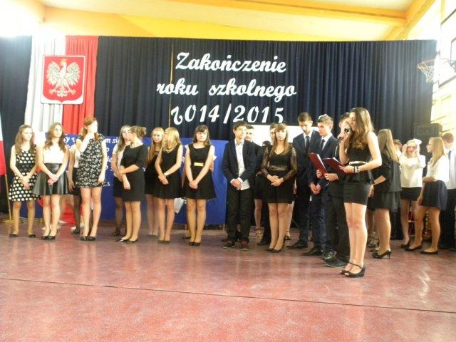 Zakończenie roku szkolnego 2014/2015 wPublicznym Gimnazjum wKonopnicy