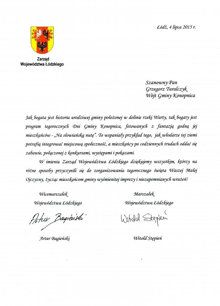 Podziękowanie od Marszałka Województwa Łódzkiego
